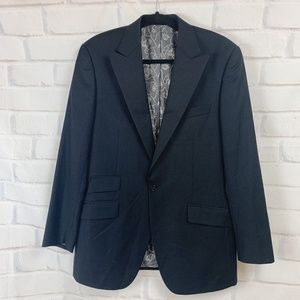 Christin Audigier Black Wool Sport Coat Blazer 40R